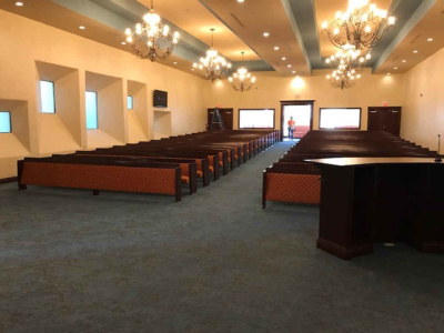 Interior Design, Pews and Chandeliers